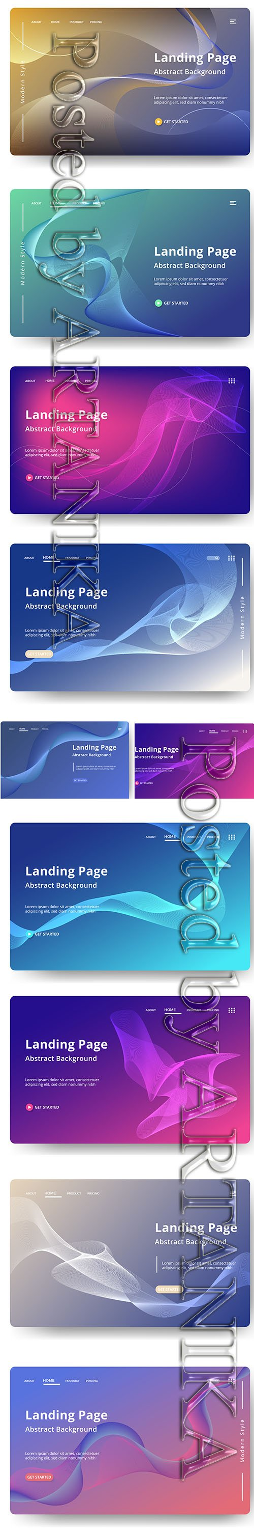 Abstractt Vector Background Landing Pages Set Vol 2