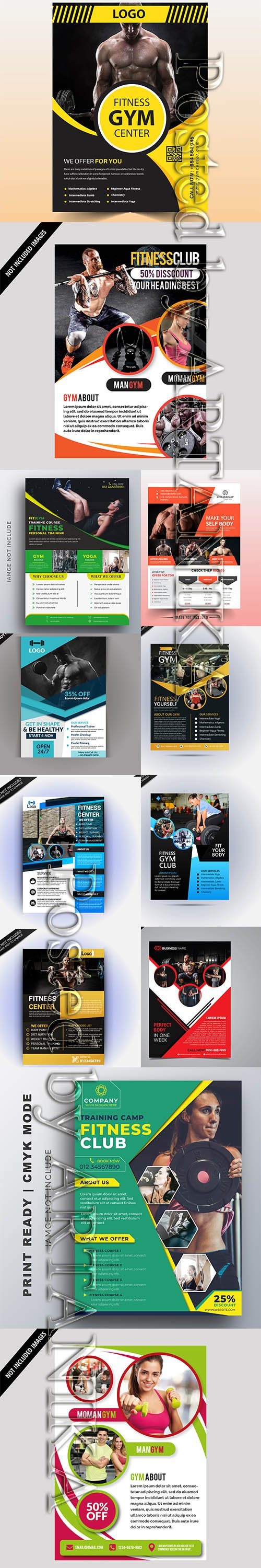 Modern Gym Flyer and Fitness Social Media Post Template Vol 19