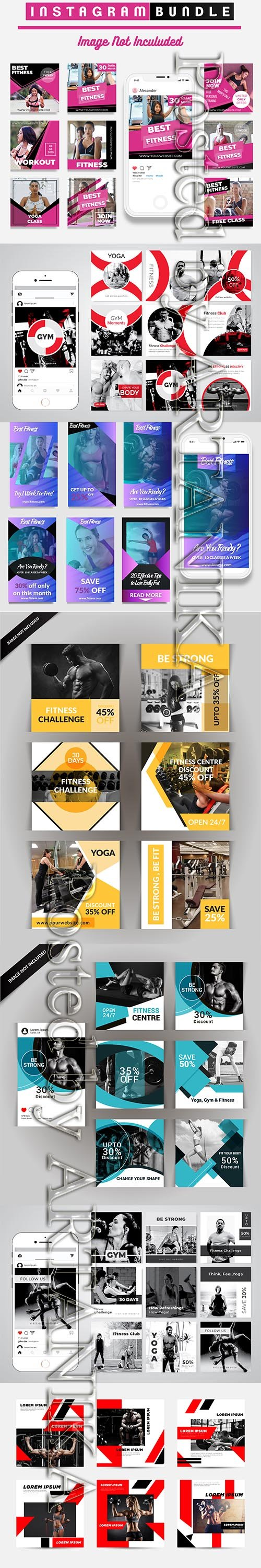 Modern Gym Flyer and Fitness Social Media Post Template Vol 22