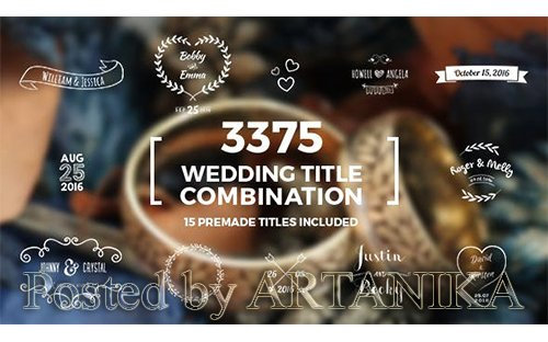 VideoHive -Elegant Wedding Title Combination Pack 14098344