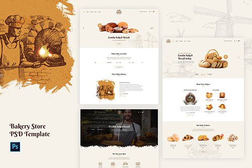 Porus - Bakery Store PSD and XD Template
