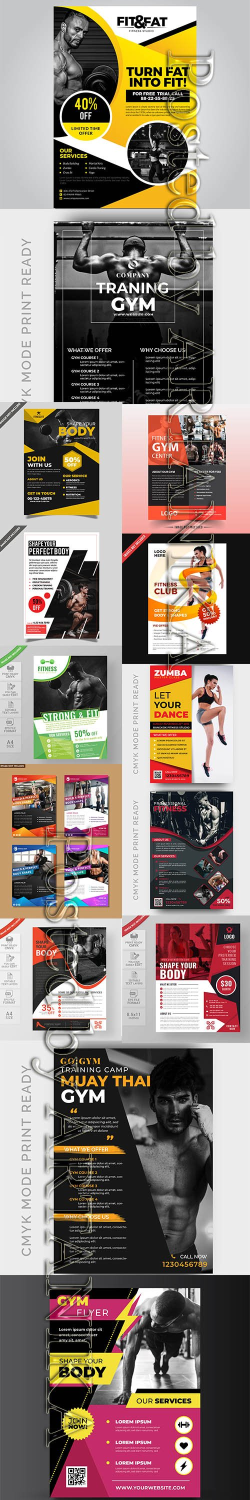 Modern Gym Flyer and Fitness Social Media Post Template Vol 20
