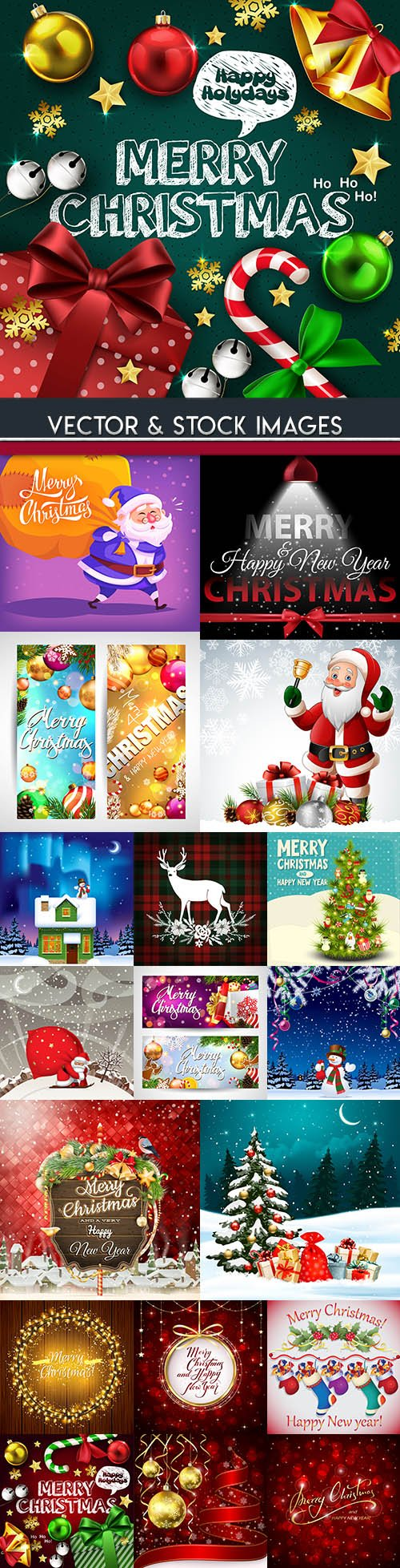 Merry Christmas and New Year background decorative 15