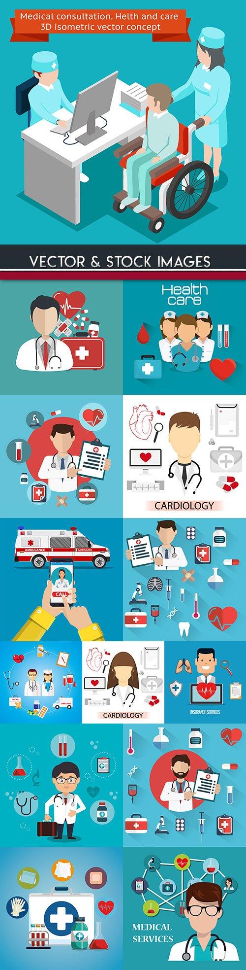 Medicine professional dignostic and equipment illustration 13