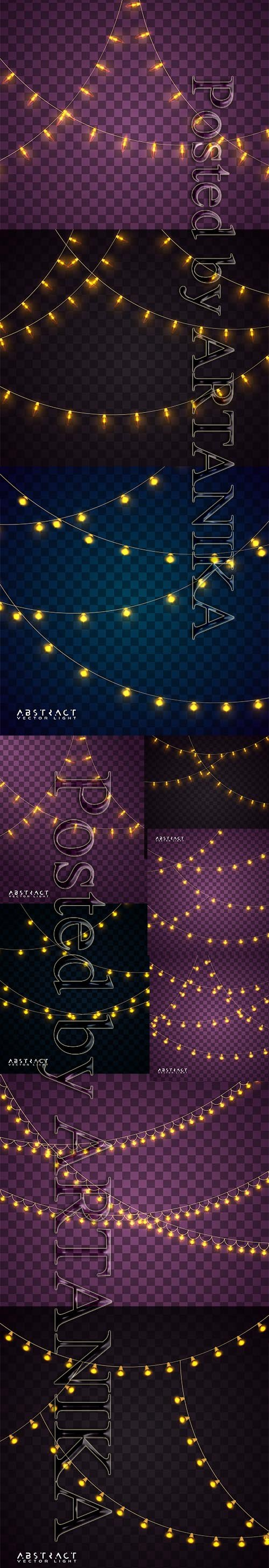Vector Set - Christmas Glowing Lights