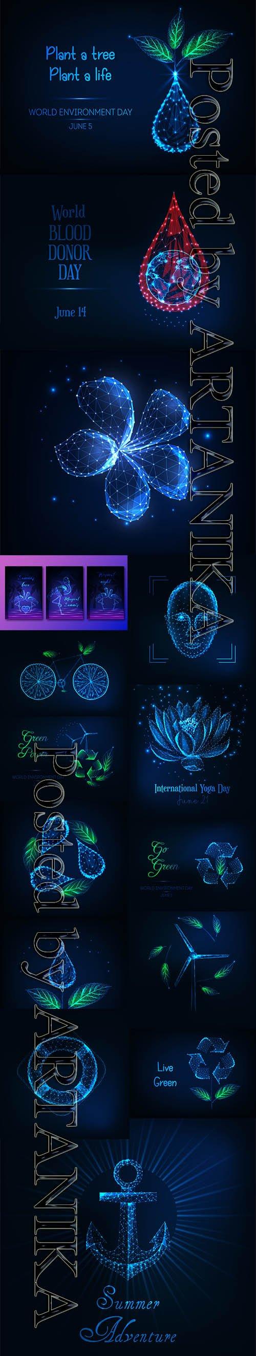Futuristic Glowing Vector Set Vol 21