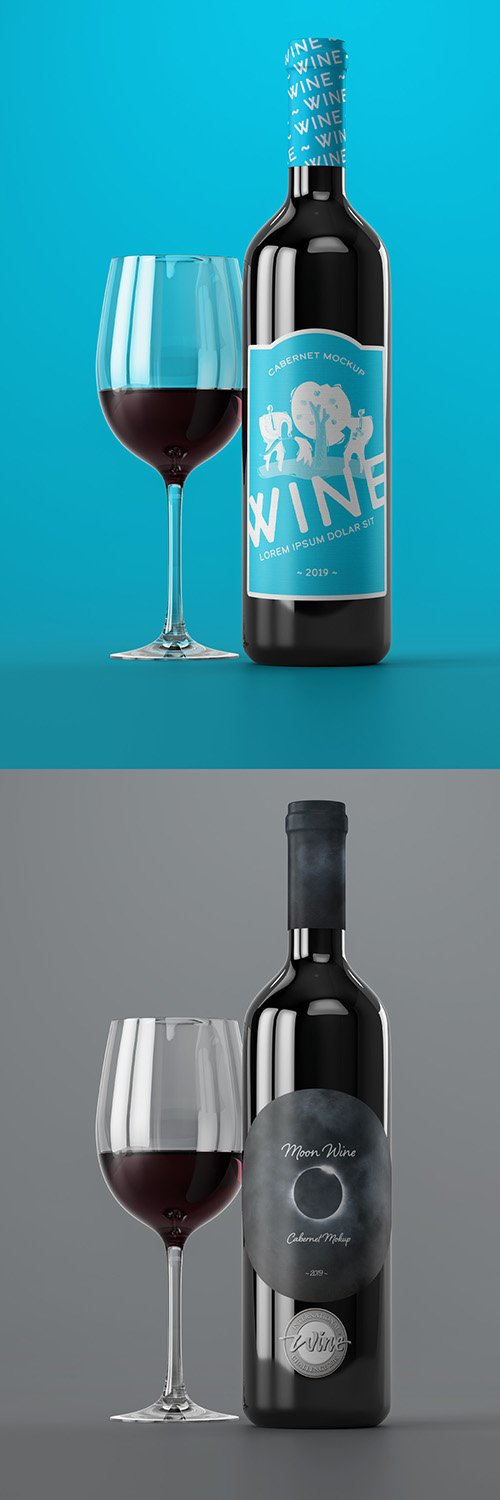 Red Wine Bottle and Glass Mockup 296125811 PSDT