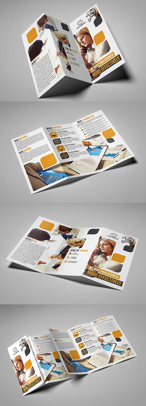 Trifold Brochure Layout with Rounded Rectangles 215288403 INDT
