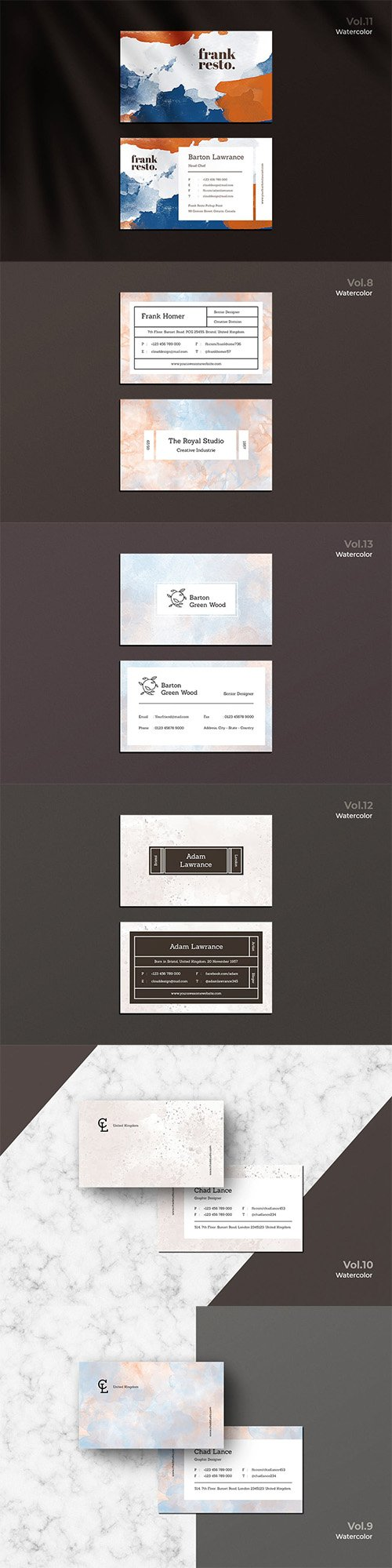 6 Business Cards Watercolor Vol-8-13 PSD