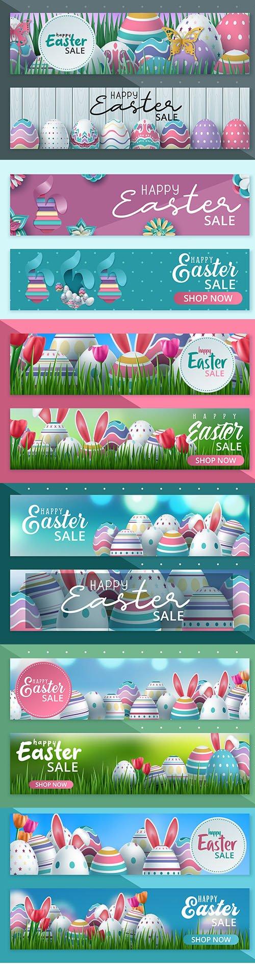 Happy Easter Sale Banner Vector Set