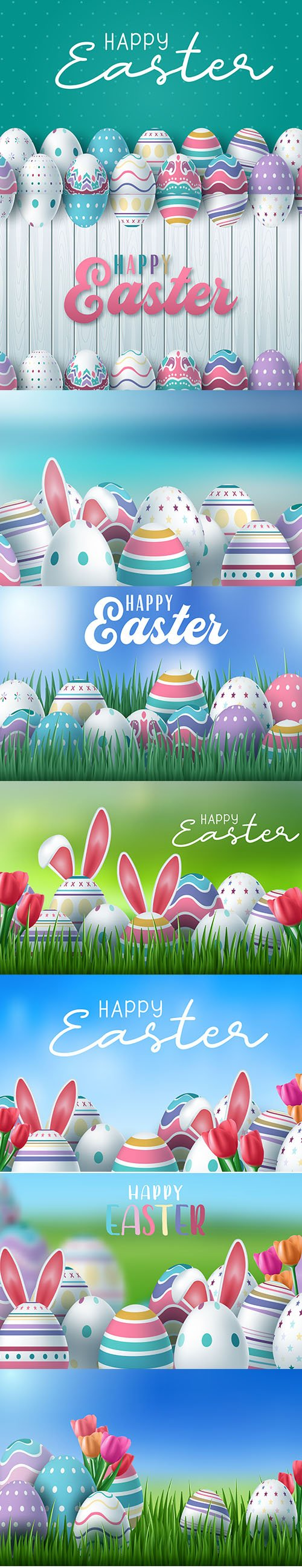 Happy Easter Background with Painted Egg