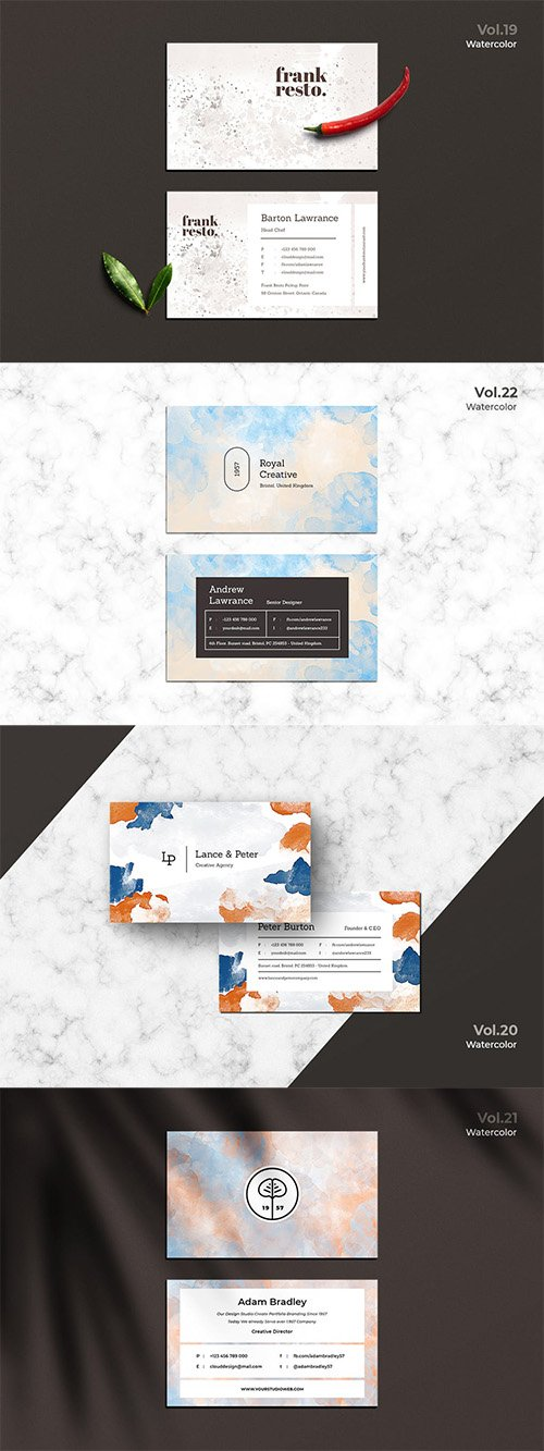 4 Business Cards Watercolor Vol. 19-22 PSD