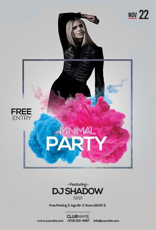 Minimal Party - Premium flyer psd template