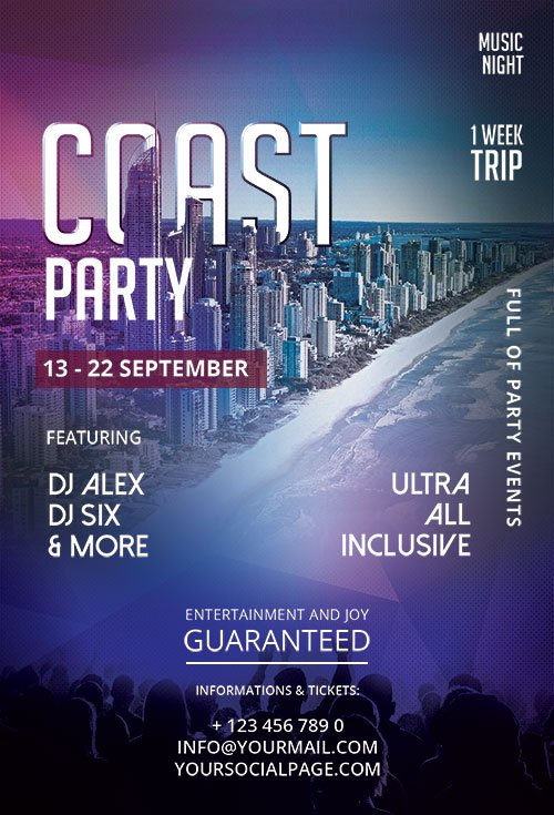 Coast Party - Premium flyer psd template