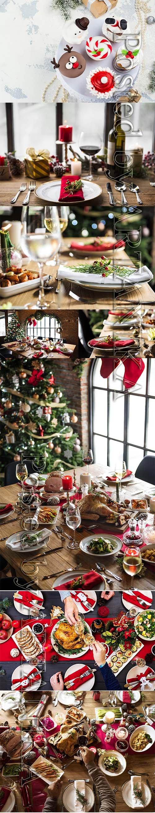 Christmas Family Dinner Stock Images