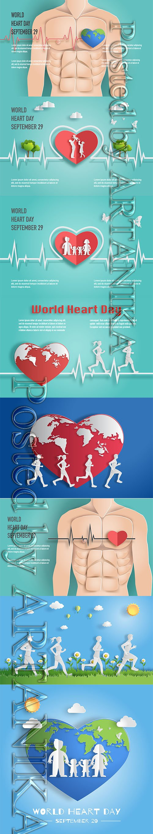World Heart Day Concept Vector Backgrounds