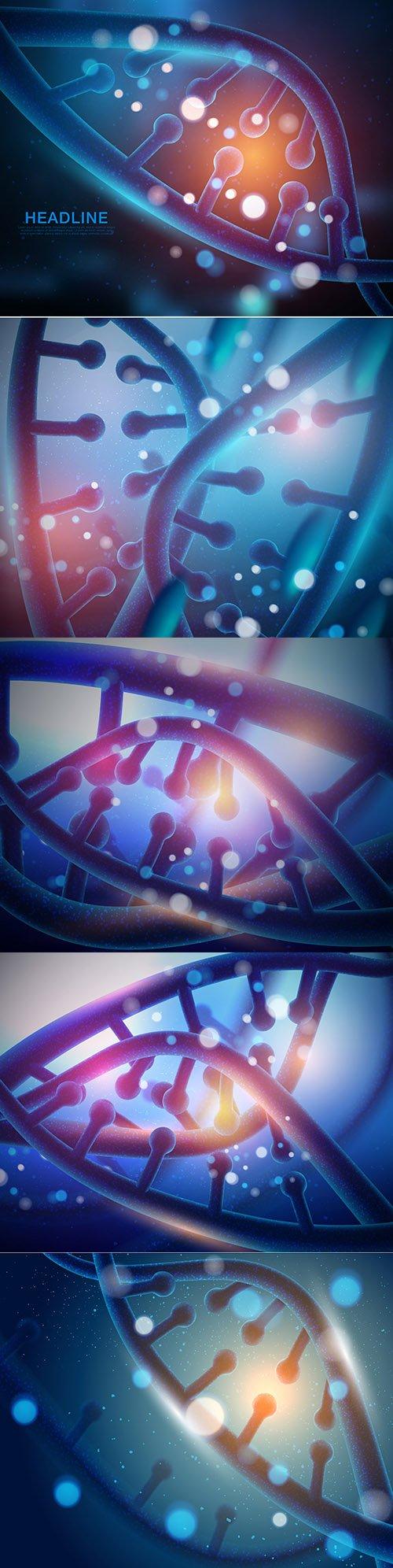 Vector Pack of Luminous Dna Molecule