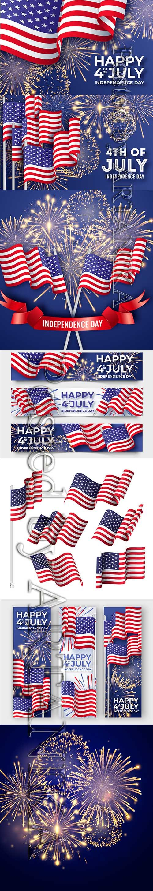 Independence Day USA with American National Flags Vector Set