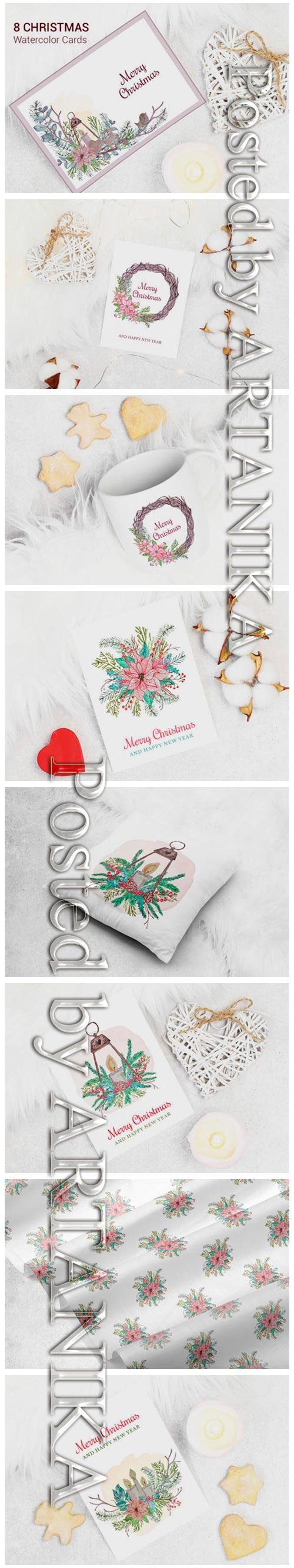 Merry Christmas Watercolor Greeting Card 1996765