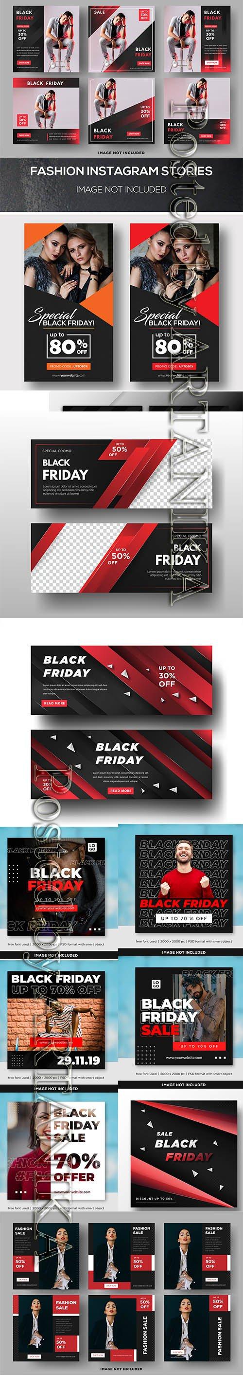 Black Friday Sale Social Media Banner Template Set