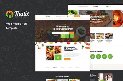 Thatix - Food Recipe PSD Template
