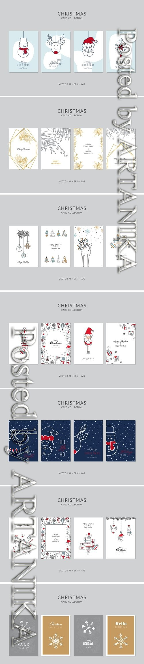 Christmas Greeting Card Vector Set