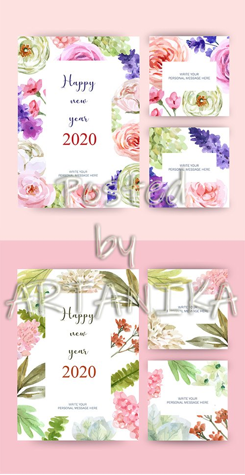 Happy New Year 2020 Greeting Cards with Floral Theme