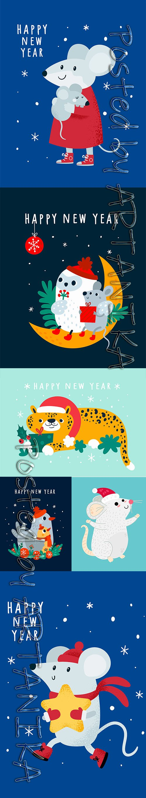 Happy New Year Greeting Card with Cute Animals