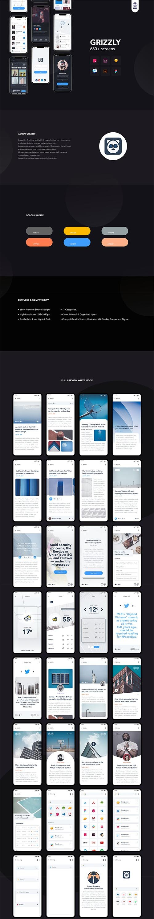 Grizzly | Mobile App Ui KIt - UI8