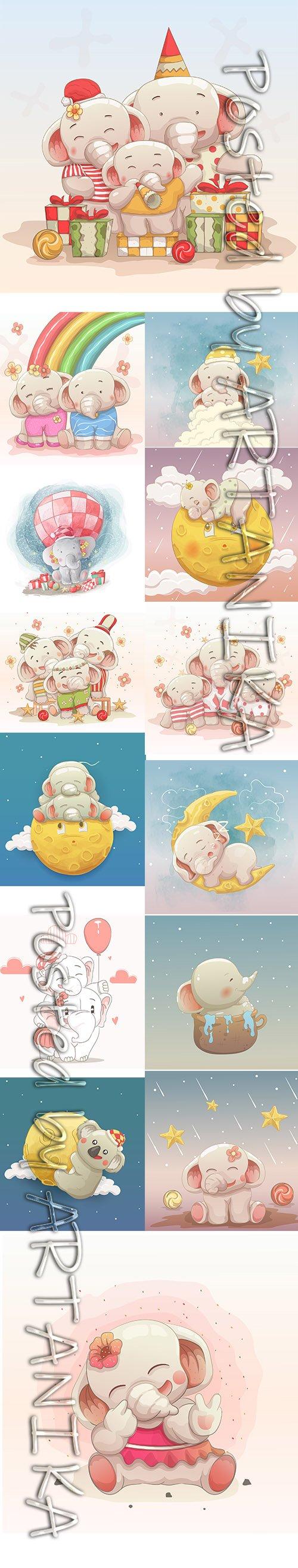 Vector Set - Cute Elephant Baby Illustrations
