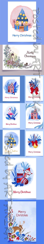 Christmas Postcard Template Set