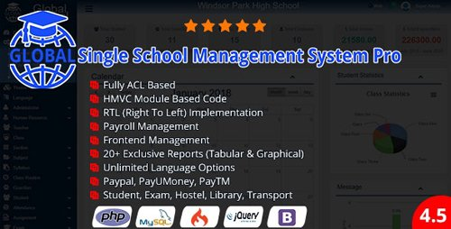 CodeCanyon - Global v4.5.0 - Single School Management System Pro - 21491101 - NULLED