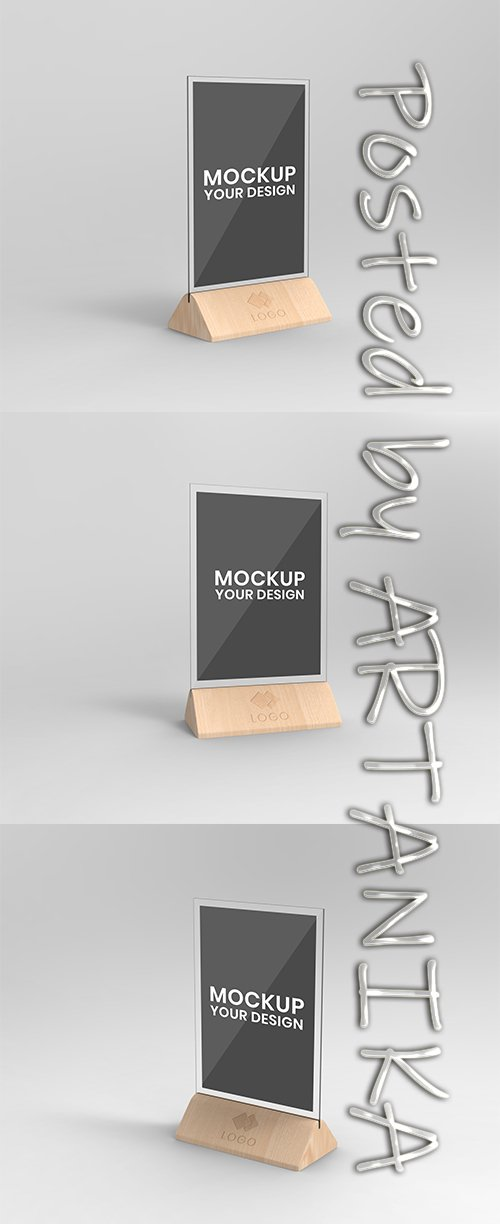 Wood Table Expositor PSD Mockup