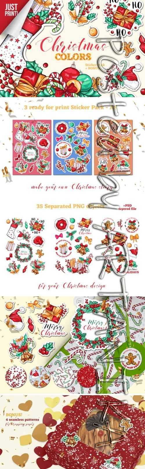 Christmas Colors Vector Sticker Pack 2011482
