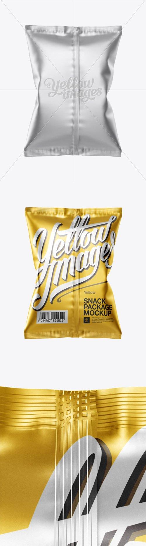 Matte Metallic Snack Package Mockup - Back View 12710 TIF