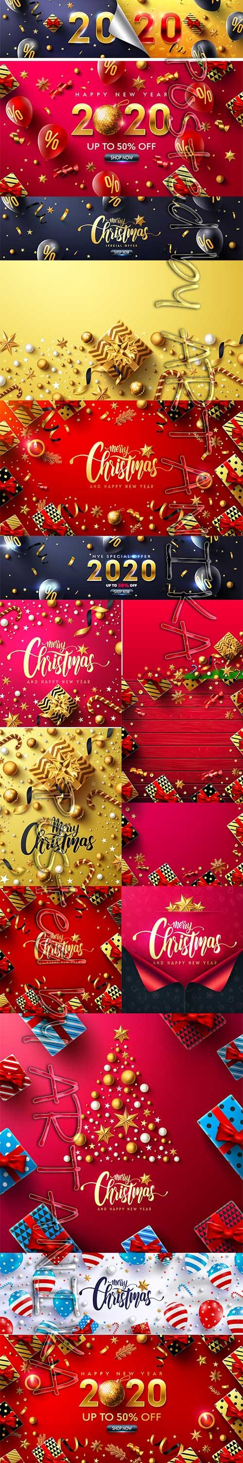 Merry Christmas and New Year 2020 Vector Illustrations Pack Vol 10