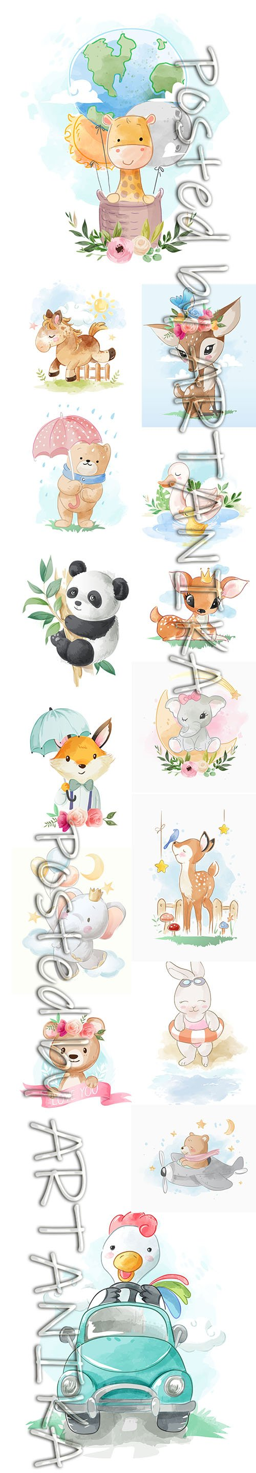 SET of HAND DRAW WATERCOLOR ADORABLE ANIMALS ILLUSTRATIONS VOL 7