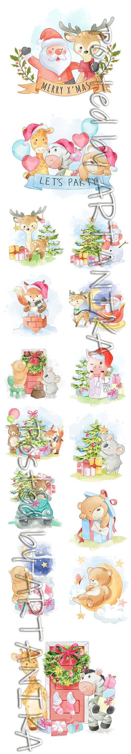 Lovely Cute Hand-Draw Christmas Illustrations Set