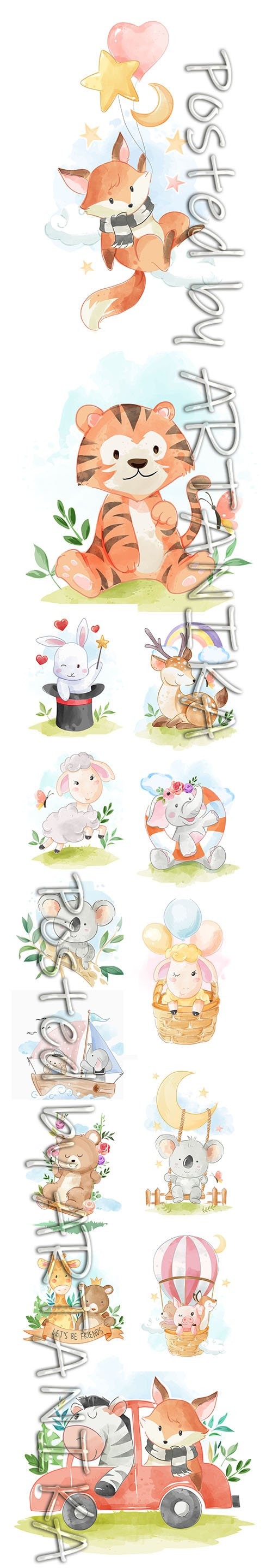 SET of HAND DRAW WATERCOLOR ADORABLE ANIMALS ILLUSTRATIONS VOL 8