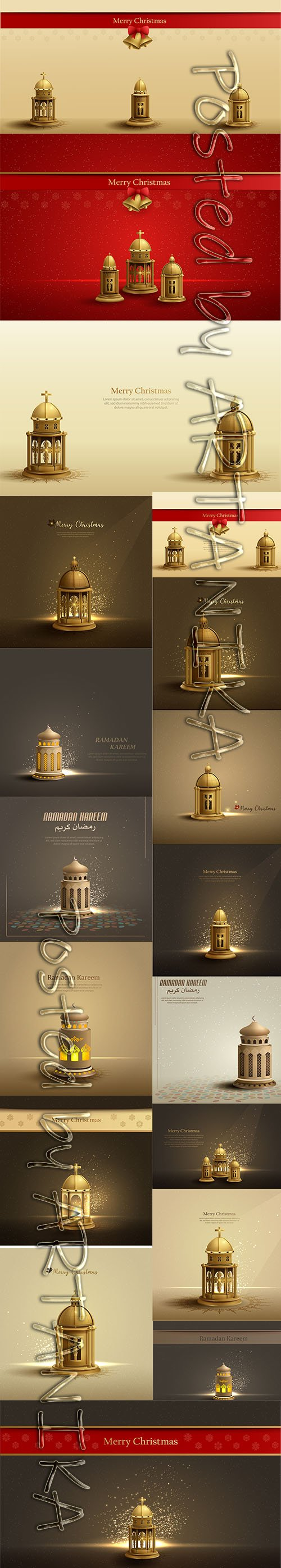 Christmas Card Template Design with Gold Church Lantern Pack