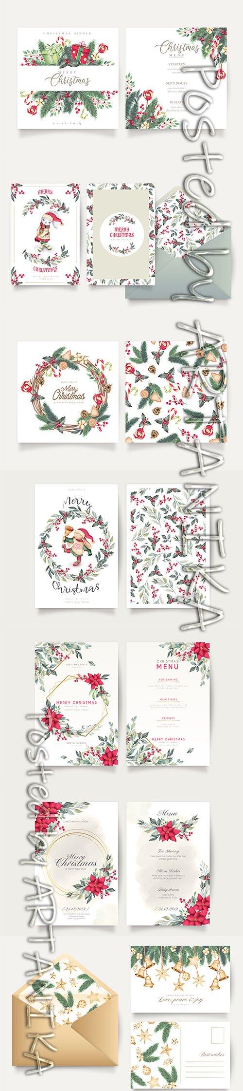Set of Elegant Christmas Postcard, Menu and Greeting Cards Templates