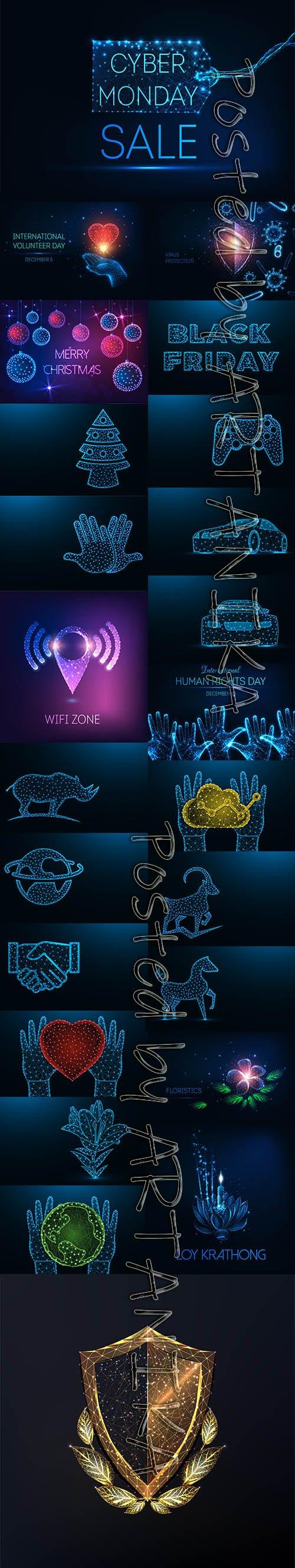 Futuristic Glowing Vector Set Vol 33