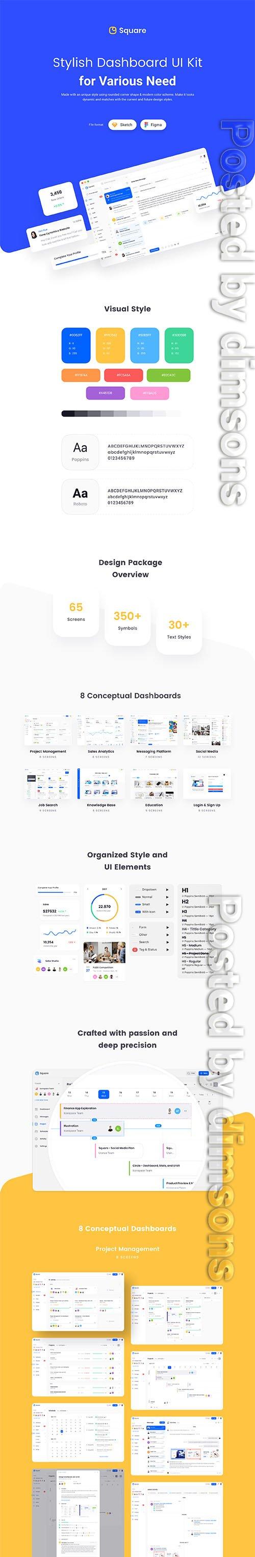 Square Dashboard UI Kit (NEW UPDATE) - UI8