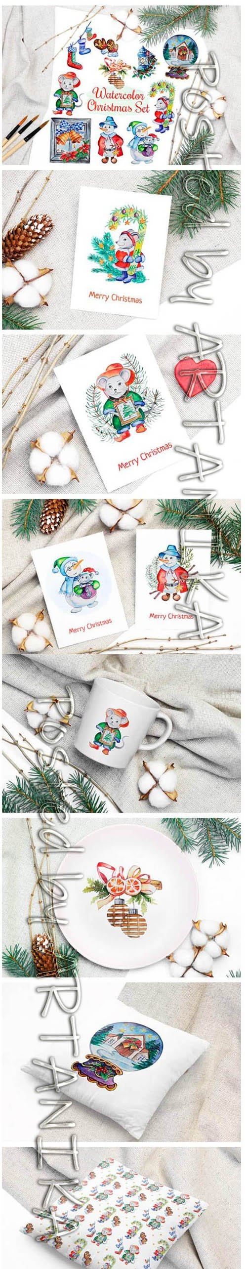 Christmas Watercolor Characters Set 2028906