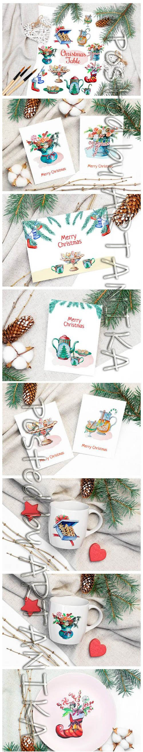 Christmas Watercolor Food Decoration 2023494
