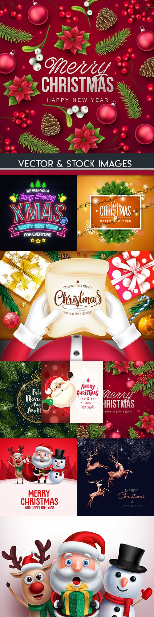 Merry Christmas and New Year background decorative 20