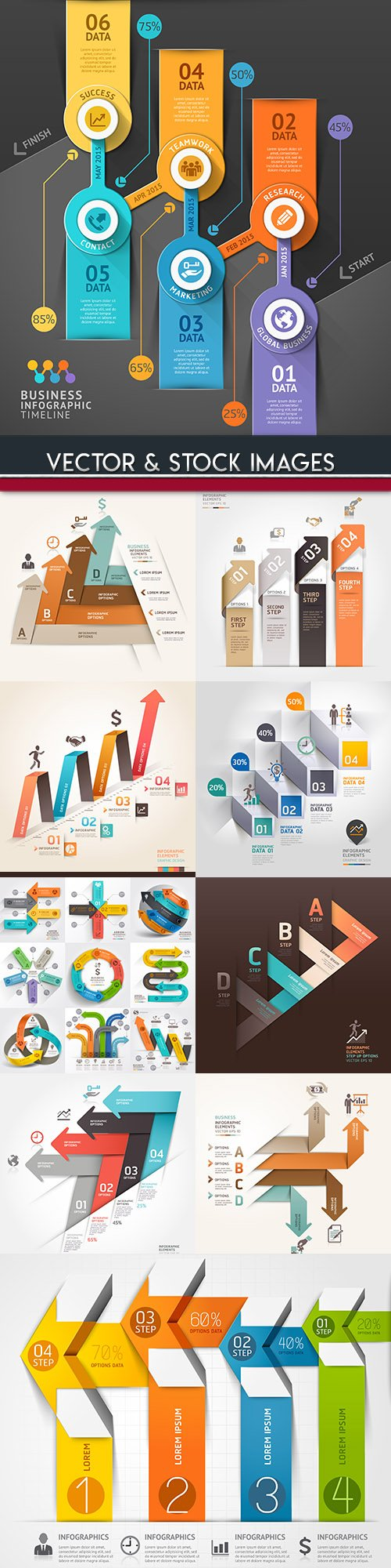 Business infographics options elements collection 108