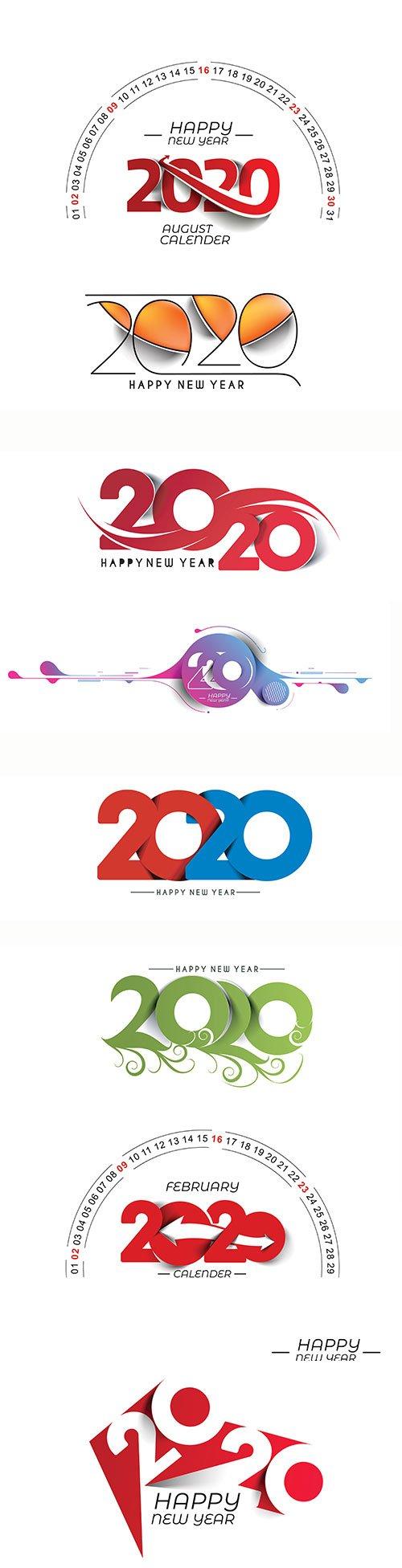 Happy New Year 2020 text design vector illustration