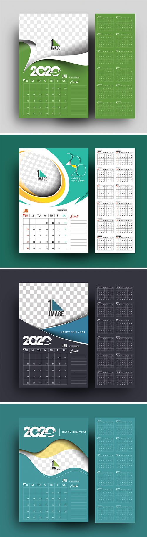 Happy new year 2020 Calendar, holiday design elements for holiday cards