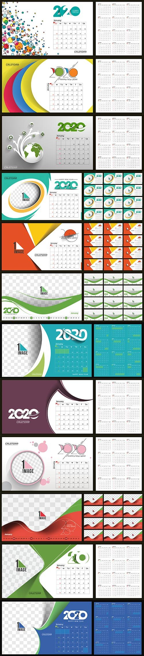 Happy new year 2020 Calendar